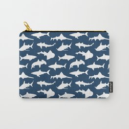 Sharks on Regal Blue Carry-All Pouch