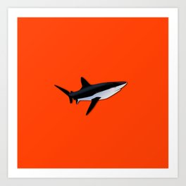 Bright Fluorescent Shark Attack Orange Neon Art Print