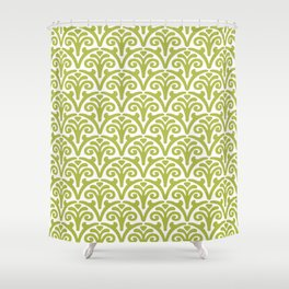 Floral Scallop Pattern Chartreuse Shower Curtain