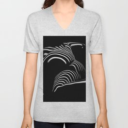 0758-AR BW Abstract Art Nude Striped Unisex V-Neck