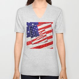 Patriotic American Flag Abstract Unisex V-Neck