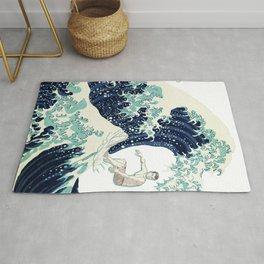 Surfer Japanese Great Wave Print Rug