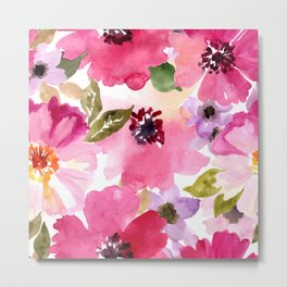 Watercolor Flowers Pink Fuchsia Metal Print