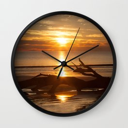 Sunrise with Driftwood Wall Clock