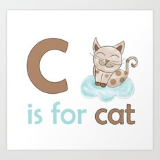 c is for cat, children alphabet for kids room and nursery Art Print