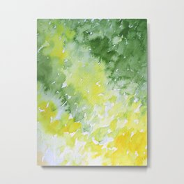 Watercolor Abstract Green Spring Metal Print
