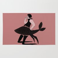 feminism Area & Throw Rugs featuring The Rise and Fall of Feminism in America by Skinny Gaviar