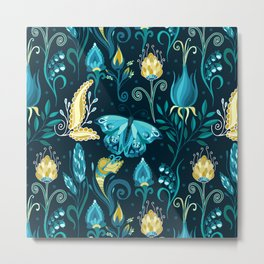 Floral blue pattern with butterfly Metal Print
