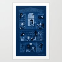 library Art Prints featuring Silence in the Library by Anna-Maria Jung
