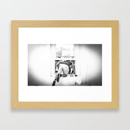 Jumping out of window Framed Art Print