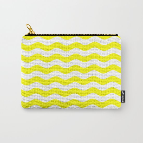 Wavy Stripes (Yellow/White) Carry-All Pouch