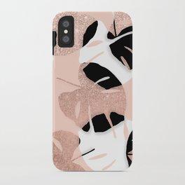 Modern black white rose gold glitter monstera tropical leaf on rose gold blush pink iPhone Case
