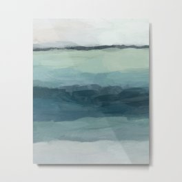Seafoam Green Mint Navy Blue Abstract Ocean Art Painting Metal Print