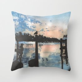 Sunset at the Boat Dock Throw Pillow