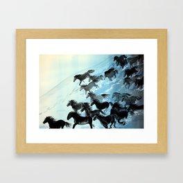 Horses In Surf Framed Art Print
