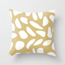 White pebbles on beige Throw Pillow