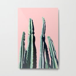 Green Cactus 9 in Pink Metal Print
