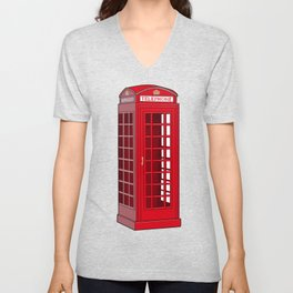 Red English Phone Booth Unisex V-Neck