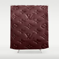 lv Shower Curtains featuring Burgundy LV by Luxe Glam Decor
