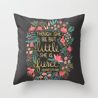 shakespeare Throw Pillows featuring Little & Fierce on Charcoal by Cat Coquillette