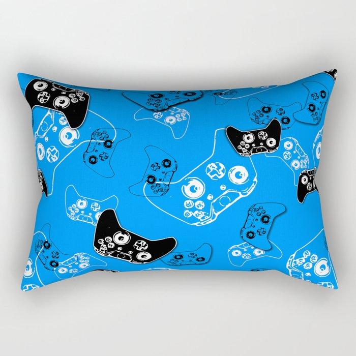 Video Game in Blue Rectangular Pillow