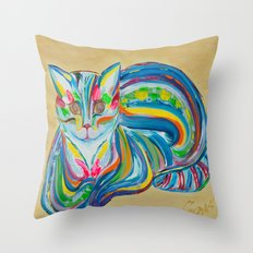Hypnotic Rainbow Cat on neutral background Throw Pillow
