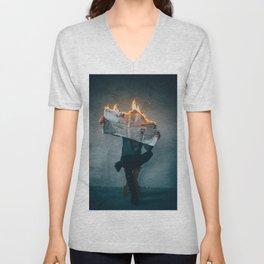 The World on Fire (Color) Unisex V-Neck