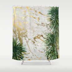 gold marble texture with palm trees Shower Curtain