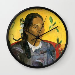 Tahitian Woman with a Flower by Paul Gauguin Wall Clock