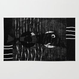 fish black and withe Rug