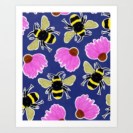 Bumblebee Floral Print  Art Print