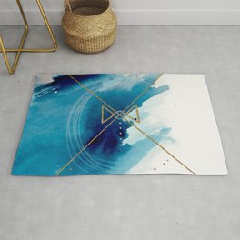 Galaxy Series 3 - a blue and gold abstract mixed media set Rug