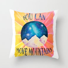 You Can Move Mountains - Galaxy Night Sky Motivational Watercolor Throw Pillow