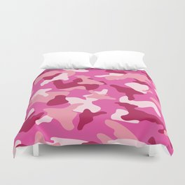 Pink camo camouflage army pattern Duvet Cover