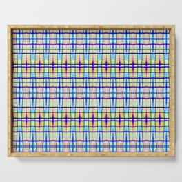 Blue Neon Plaid Serving Tray