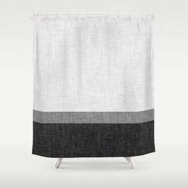 Black and White Graphic Burlap Pattern Stripe Shower Curtain