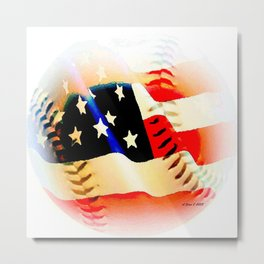 Baseball And Americn Flag Painting By Annie Zeno  Metal Print