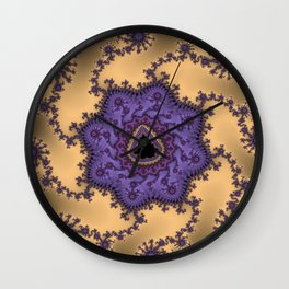 Elegant Purple Mandelbrot Fractal Print Wall Clock