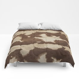Brown and white cowhide 3 Comforters