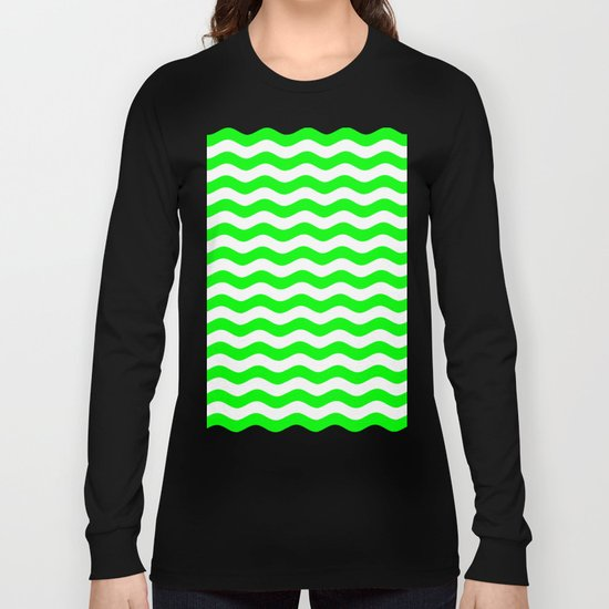 Wavy Stripes (Green/White) Long Sleeve T-shirt