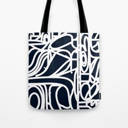 Stained Glass Pattern Black and White Tote Bag