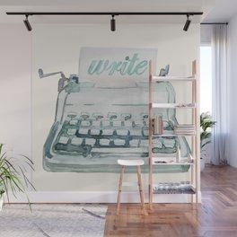 Vintage Typewriter Watercolor - Write II Wall Mural