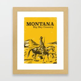Big Sky Montana vintage travel poster Framed Art Print