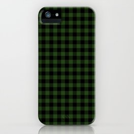 Dark Forest Green and Black Gingham Checkcom iPhone Case