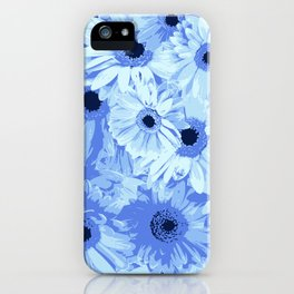 Gerbera Flowers, Petals, Blossoms - Blue iPhone Case