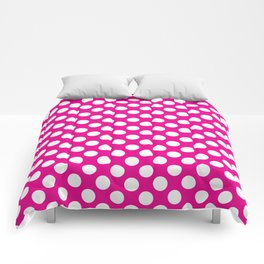 White Polka Dots with Pink Background Comforters