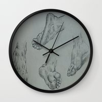 feet Wall Clocks featuring Feet by Esteban Garza
