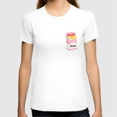 drama MEDIUM White Womens Fitted Tee
