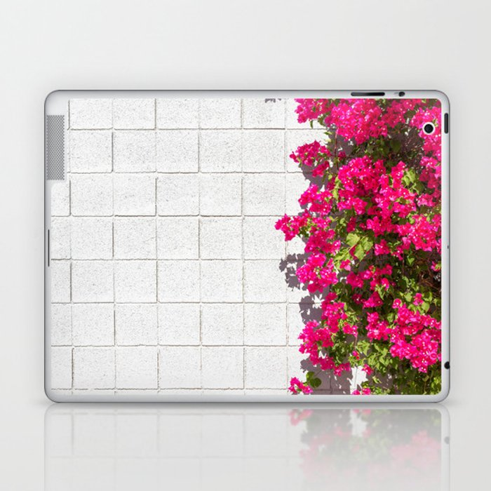 Bougainvilleas and White Brick Wall in Palm Springs, California Laptop & iPad Skin