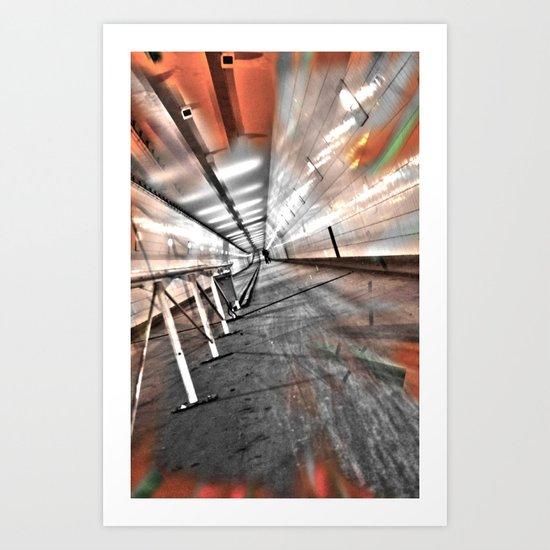 Deep in the tunnel Art Print